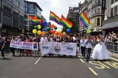每年自豪感行军通过庆祝同性恋者的伦敦, Lesbia 免版税库存图片