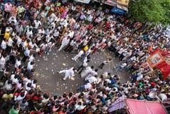 每年运输车节日Raathyatra,艾哈迈达巴德,印度 库存照片