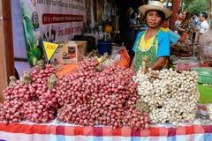 每年Lumpini文化节日的大蒜和青葱卖主 库存照片