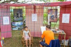 每年Lumpini文化节日的面孔画家 免版税库存照片