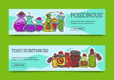 毒化学制品和毒性物质横幅传染媒介例证 液体的不同的容器上油,生物燃料 库存例证