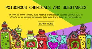 毒化学制品和物质横幅传染媒介例证 液体的不同的容器上油,生物燃料,易爆 向量例证