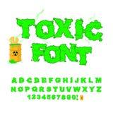 毒性字体 绿色字母表核废料 有毒酸字母表 免版税库存照片