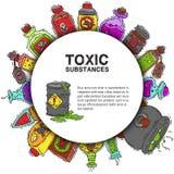 毒性物质圆的样式传染媒介例证 液体和毒化学制品油的不同的容器 向量例证