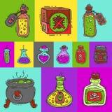 毒性物质圆的样式传染媒介例证 液体和毒化学制品油的不同的容器 库存例证