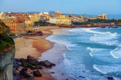 比亚利兹市和它的著名沙子海滩,法国 免版税图库摄影