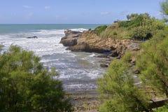 比亚利兹海岸线在法国 免版税库存图片