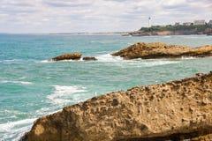 比亚利兹海岸线  库存照片