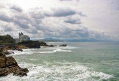 比亚利兹海岸线  免版税库存照片