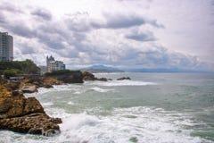 比亚利兹海岸线  图库摄影