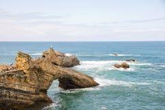比亚利兹海岸线  免版税图库摄影