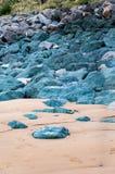 比亚利兹海滩,法国:大西洋的美丽如画的镇 为它芳香抚人的空气使有名望的阿基旃旅游胜地 免版税库存照片