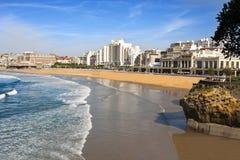 比亚利兹海滩 免版税库存照片