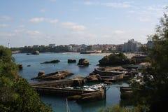 比亚利兹海边视图 免版税库存照片