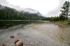 比亚河的看法以用雾盖的山为背景的 免版税图库摄影