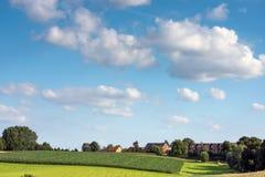 比利时乡下风景在夏天 免版税库存照片