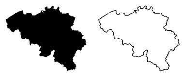 比利时传染媒介图画仅简单的锋利的角落地图  木鲁旰 库存例证