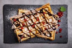 比利时华夫饼干板材用巧克力汁和无核小葡萄干结果实 免版税库存照片