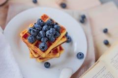 比利时华夫饼干用在轻的木桌上的蓝莓 健康的早餐 库存照片