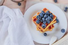 比利时华夫饼干用在轻的木桌上的蓝莓 健康的早餐 库存图片