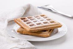 比利时华夫饼干用搽粉的糖 库存照片