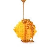 比利时华夫饼干用焦糖调味汁 免版税库存照片