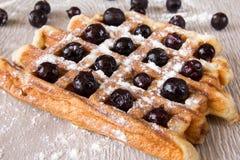 比利时华夫饼干用莓果洒与搽粉的糖 库存照片