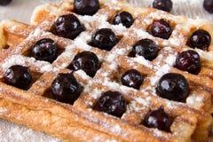 比利时华夫饼干用莓果洒与搽粉的糖 免版税库存图片