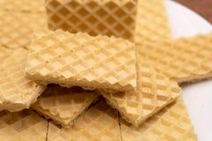 比利时华夫饼干用蜂蜜和蔓越桔在蓝色板材 选择聚焦 库存图片