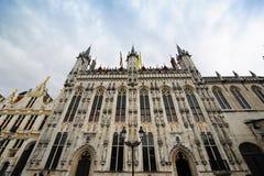 比利时布鲁基最细致的大厅stadhuis城镇 库存图片