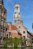 比利时布鲁日运河房子 免版税库存照片