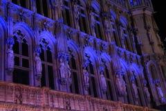 比利时建筑学夜场面与光的在布鲁塞尔 库存照片