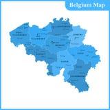 比利时的详细的地图有地区的或州和城市 库存图片