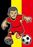 比利时足球运动员有旗子背景 免版税库存图片