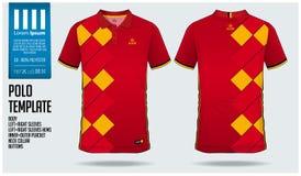 比利时队马球T恤杉体育足球球衣、橄榄球成套工具或者sportwear的模板设计 经典衣领体育制服 向量例证