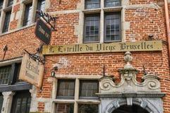 比利时,布鲁塞尔美丽如画的Sablon区  免版税库存图片