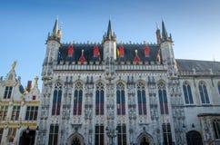 比利时,布鲁日市政厅哥特式门面 免版税库存图片