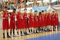 比利时U16蓝球队 库存图片