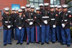 比利・简・金全国网球的美国海军陆战队员在松开美国国旗前集中预先的美国公开赛最后2014名的妇女 库存照片