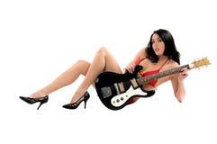 比基尼泳装吉他 免版税库存图片