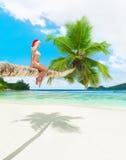 比基尼泳装和圣诞节帽子的逗人喜爱的妇女在热带的棕榈树 免版税图库摄影