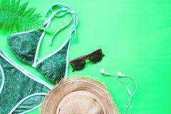 比基尼泳装和辅助部件平的位置有蕨的在绿色背景、夏天和热带概念离开 库存照片