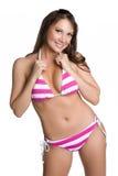 比基尼泳装女孩粉红色 库存图片