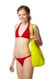比基尼泳装女孩红色 免版税库存照片