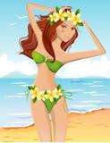 比基尼泳装女孩年轻人 免版税库存照片