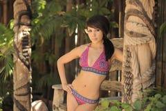 比基尼泳装庭院拉提纳模型晴朗 库存照片