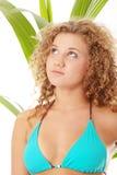 比基尼泳装接近的女孩纵向青少年  免版税图库摄影