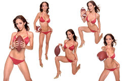 比基尼泳装橄榄球系列体育运动 库存照片