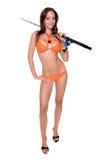 比基尼泳装渔夫妇女 免版税库存图片