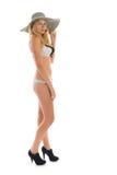 比基尼泳装白肤金发的妇女 图库摄影